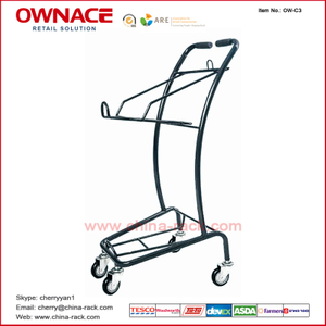 OW-C3 Layers Wire Basket Trolley Supermarket Shopping Trolley/Cart with Different Capacity