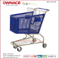 OW-P-Series Standard Plastic Style Trolley Supermarket Shopping Trolley/Cart with Different Capacity