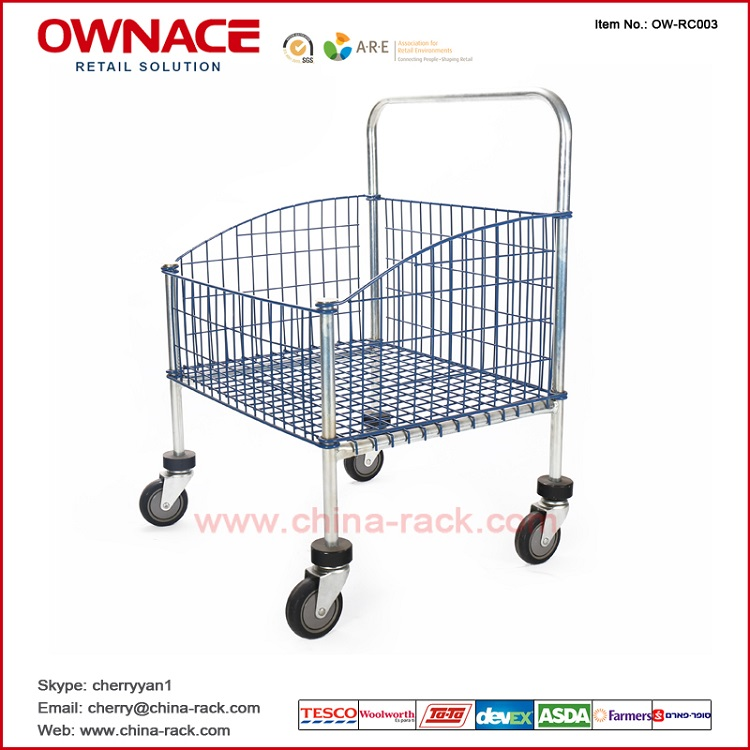 Wire Mesh Roll Container Basket Cart With Four Wheels