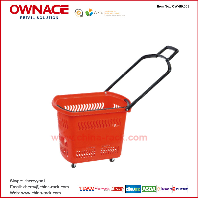 OW-BR010 Plastic Rolling Supermarket Shopping Basket with handle & wheel